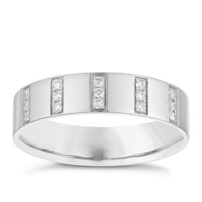 9ct White Gold 0.15ct Diamond Set Stripe Wedding Band - Product number 3967492