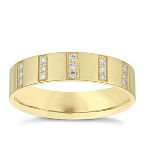 9ct Yellow Gold 0.15ct Diamond Set Stripe Wedding Band - Product number 3967638