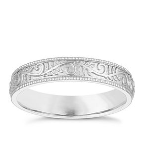 9ct White Gold 4mm Patterned Design Wedding Ring - Product number 3968162