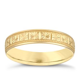 9ct Yellow Gold 4mm Patterned Design Wedding Ring - Product number 3969037