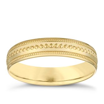 9ct Yellow Gold 4mm Milgrain Design Wedding Ring - Product number 3969185