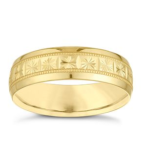 9ct Yellow Gold 6mm Patterned Design Wedding Ring - Product number 3971414