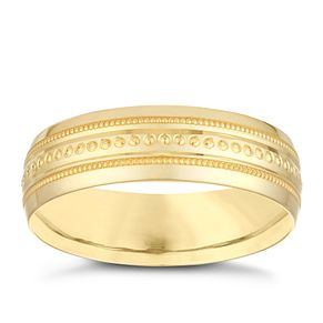 9ct Yellow Gold 6mm Milgrain Design Wedding Ring - Product number 3971864