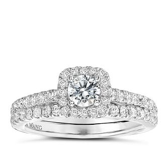 Vera Wang  platinum 95pt diamond halo bridal set - Product number 3972046