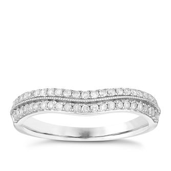18ct White Gold 1/4ct Diamond Double Row Shaped Wedding Ring - Product number 3972623