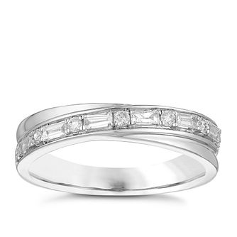 18ct White Gold 1/4ct Diamond Set Crossover Wedding Ring - Product number 3972755