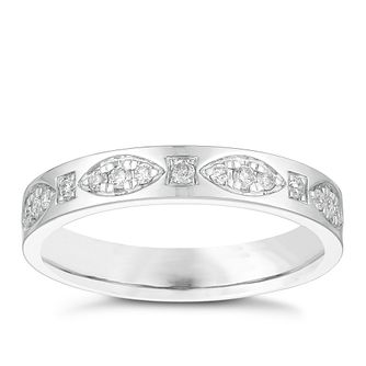 18ct White Gold 0.15ct Diamond Set Patterned Wedding Ring - Product number 3973166