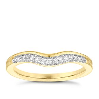 18ct Yellow Gold 1/10ct Diamond Set Shaped Wedding Ring - Product number 3973298