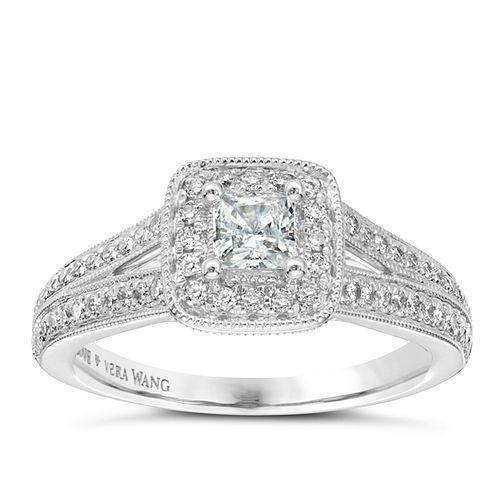 Vera Wang  platinum 70pt diamond cushion halo ring - Product number 3974278
