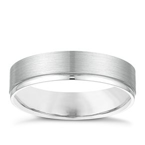 Palladium 950 5mm Matt & Polished Stripe Wedding Ring - Product number 3975800