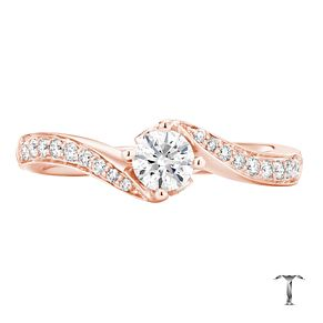 Tolkowsky 18ct Rose Gold 1/2ct I-I1 Diamond Twist Ring - Product number 3975932
