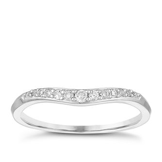Palladium 950 0.11ct Diamond Set Shaped Wedding Ring - Product number 3976440