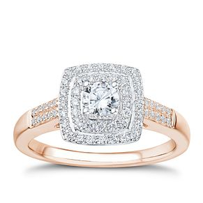 Tolkowsky 18ct Rose Gold 1/2ct I-I1 Diamond Halo Ring - Product number 3977927