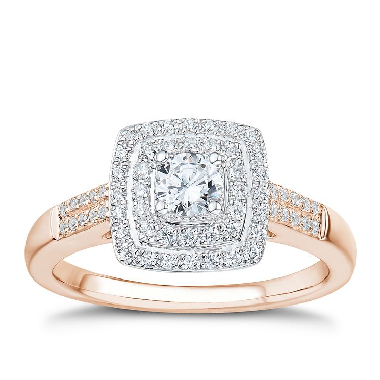 Tolkowsky 18ct Rose Gold 0.50ct I-I1 Diamond Halo Ring - Product number 3977927