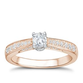 Tolkowsky 18ct Rose Gold 1/2ct I-I1 Diamond Ring - Product number 3978060