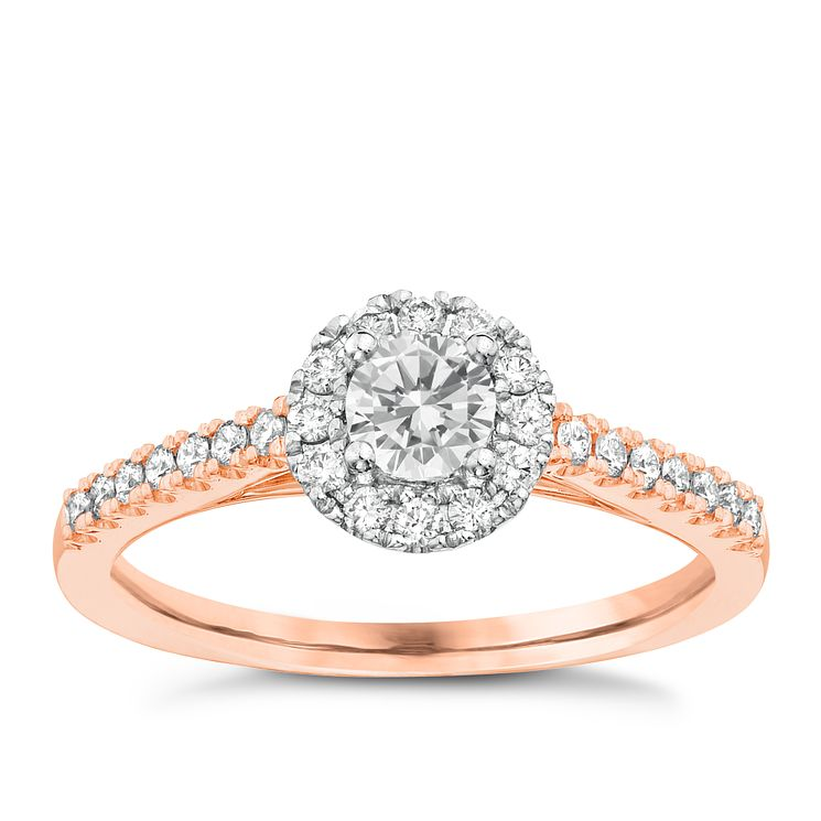 Tolkowsky 18ct Rose Gold 0.50ct I-I1 diamond Halo Ring - Product number 3978354