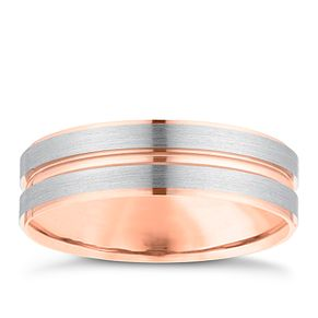 Palladium 500 & 9ct Rose Gold 6mm Striped Wedding Ring - Product number 3978915