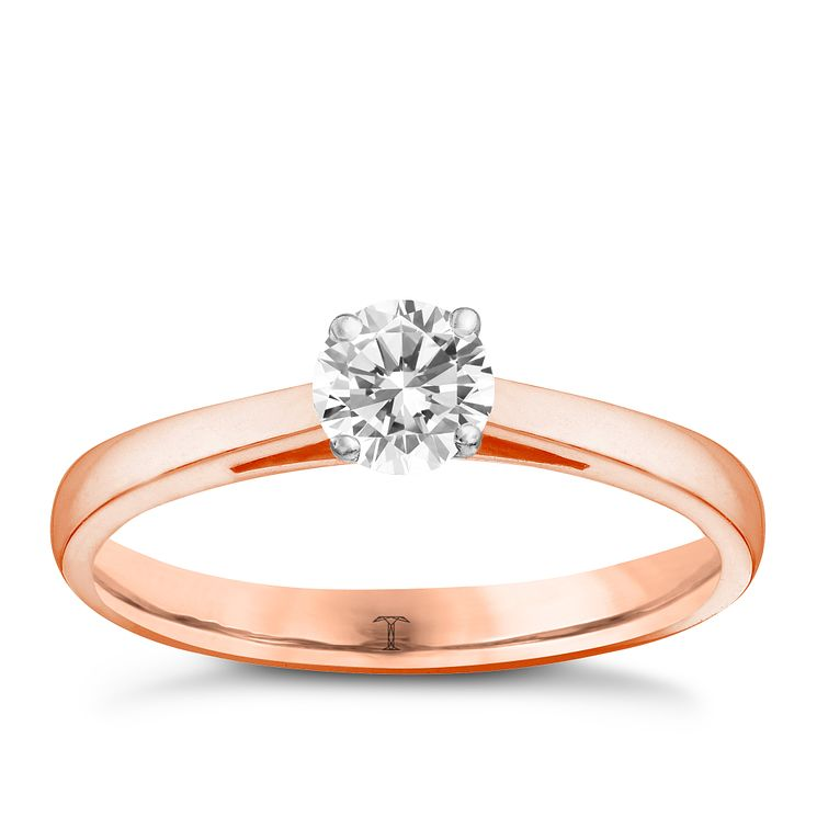 Tolkowsky 18ct rose gold 0.40ct I-I1 diamond ring - Product number 3980030