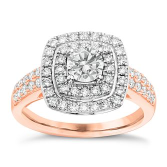 Tolkowsky 18ct Rose Gold 1ct I-I1 Diamond Halo Ring - Product number 3981517