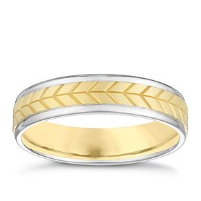 9ct White & Yellow Gold 5mm Patterned Wedding Band - Product number 3982319