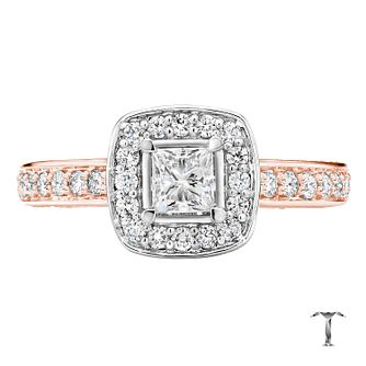 Tolkowsky 18ct Rose Gold 1ct Princess Cut Diamond Halo Ring - Product number 3983099