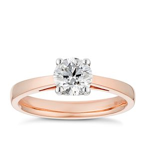 Tolkowsky 18ct rose gold 3/4ct HI-SI2 diamond ring - Product number 3983501