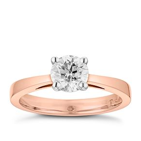 Tolkowsky 18ct rose gold 1ct HI-SI2 diamond ring - Product number 3983838