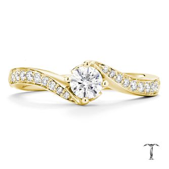 Tolkowsky 18ct Gold 0.50ct I-I1 Diamond Twist Ring - Product number 3984397