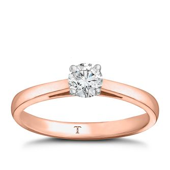 Tolkowsky 18ct rose gold 1/3ct HI-VS2 diamond ring - Product number 3984540