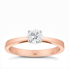 Tolkowsky 18ct rose gold 2/5ct HI-VS2 diamond ring - Product number 3984893
