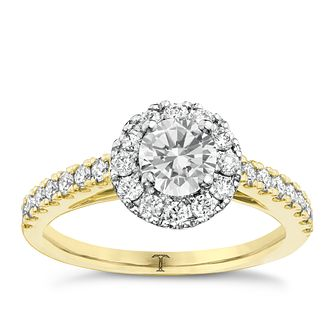 Tolkowsky 18ct Gold 1.00ct I-I1 Diamond Halo Ring - Product number 3986756