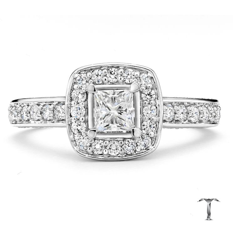 Tolkowsky Platinum 1ct princess cut diamond halo ring - Product number 3994090