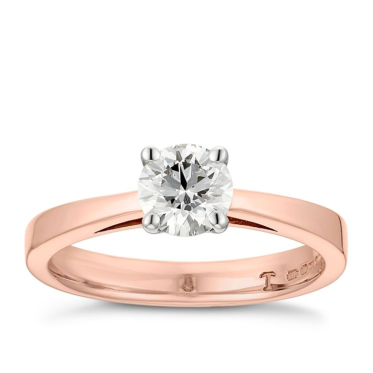 Tolkowsky 18ct rose gold 0.66ct HI-VS2 diamond ring - Product number 3995305