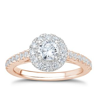Tolkowsky 18ct Rose Gold 1ct I-I1 Diamond Halo Ring - Product number 3997685