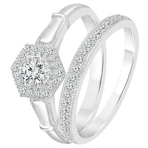 9ct White Gold 2/5ct Diamond Perfect Fit Bridal Set - Product number 3998533