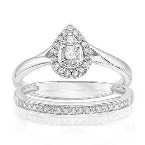 9ct White Gold 1 4ct Diamond Perfect Fit Bridal Set H Samuel