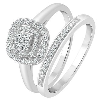 9ct White Gold 1/3ct Diamond Perfect Fit Bridal Set - Product number 3999327