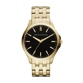 Armani Exchange Men's Black Dial Gold-Plated Bracelet Watch - Product number 4002156