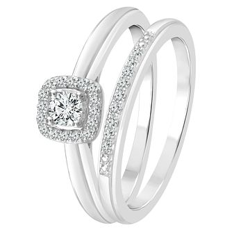 9ct White Gold 1/5ct Diamond Perfect Fit Bridal Set - Product number 4004434