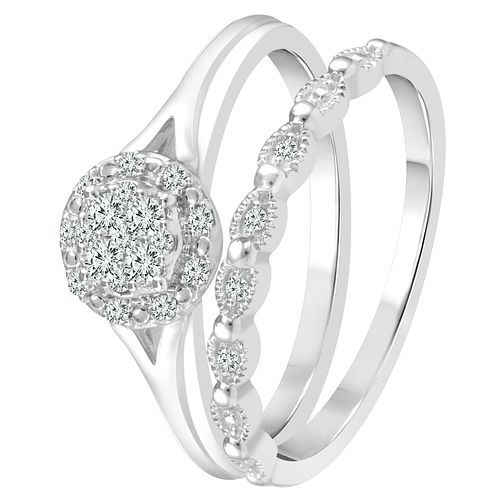 9ct White Gold 0.15ct Diamond Perfect Fit Bridal Set - Product number 4008650