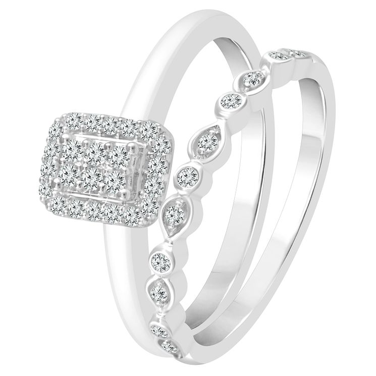 9ct White Gold 0.17ct Diamond Perfect Fit Bridal Set - Product number 4010124