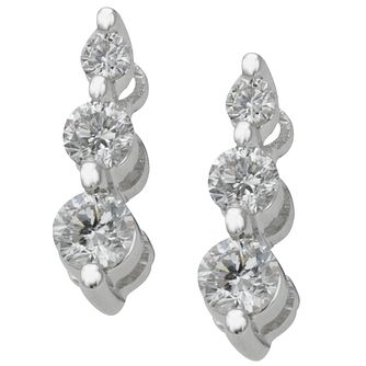 18ct white gold 0.50ct diamond three stone earrings - Product number 4013689