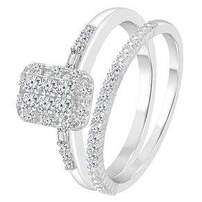 9ct White Gold 1/4ct Diamond Perfect Fit Bridal Set - Product number 4014324