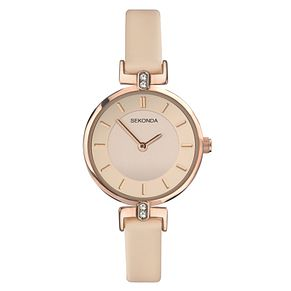 Sekonda Ladies' Pink Dial Pink Leather Strap Watch - Product number 4017595