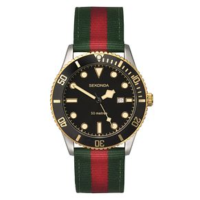 Sekonda Men's Black Dial Green & Red Nylon Strap Watch - Product number 4017633