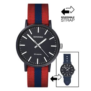 Sekonda Men's Red & Blue Reversible Nylon Strap Watch - Product number 4017676