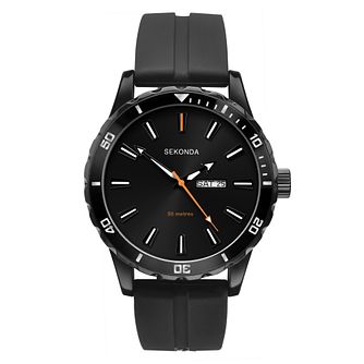 Sekonda Men's Black Dial Black Rubber Strap Watch - Product number 4017692