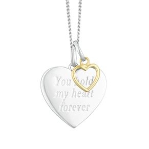 "Silver & 9ct Yellow Gold ""Hold My Heart Forever"" Pendant - Product number 4025571"