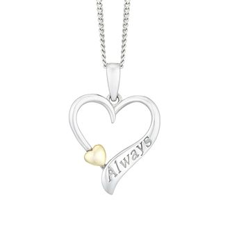 "Silver & 9ct Yellow Gold Open Heart ""Always"" Pendant - Product number 4025598"