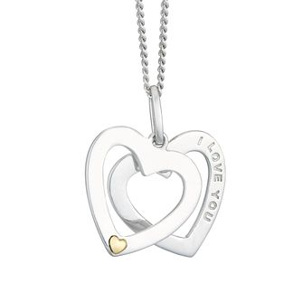 "Silver & 9ct Gold Double Heart ""I Love You"" Pendant - Product number 4025601"